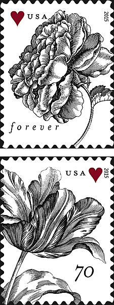 2015 engraved flower stamps